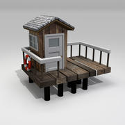 救生员在海滩上的房子 3d model