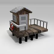 Дом спасателей на пляже 3d model