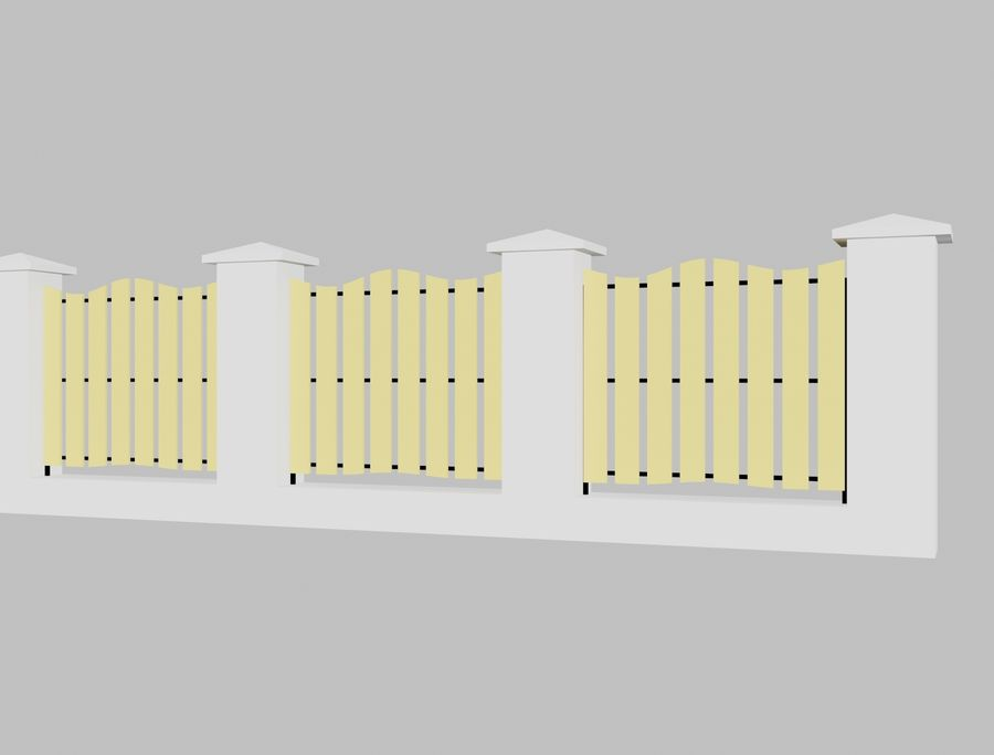 Recinzione in legno di legno royalty-free 3d model - Preview no. 6
