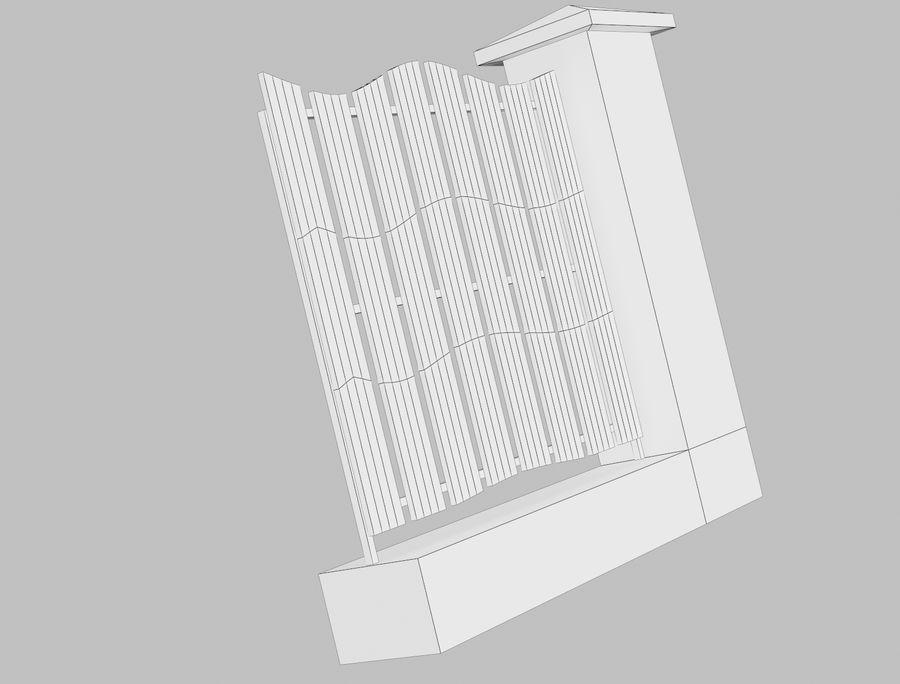 Recinzione in legno di legno royalty-free 3d model - Preview no. 10