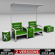 Tennis court bench chair 3d model