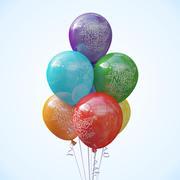 Siete globos de helio modelo 3d
