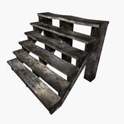 Vieux escaliers en bois humides 3d model