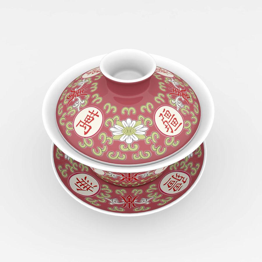 中国の磁器のワンシュウティーカップセット-Gongfu Gaiwan royalty-free 3d model - Preview no. 2