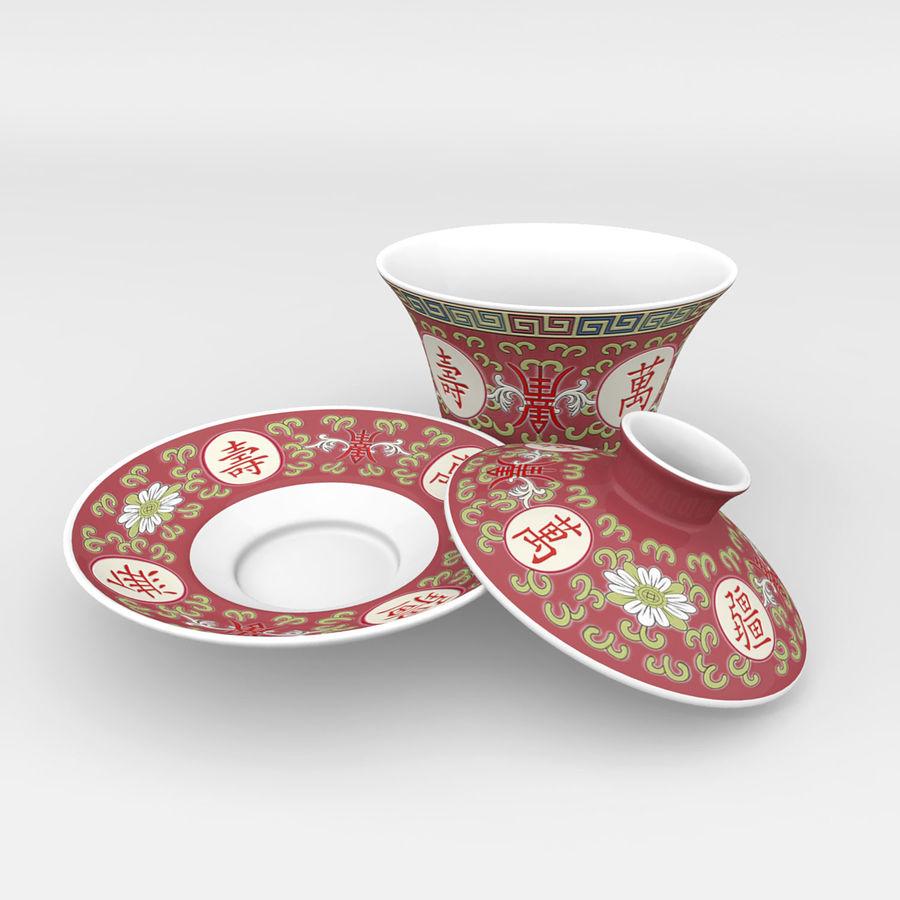 中国の磁器のワンシュウティーカップセット-Gongfu Gaiwan royalty-free 3d model - Preview no. 3