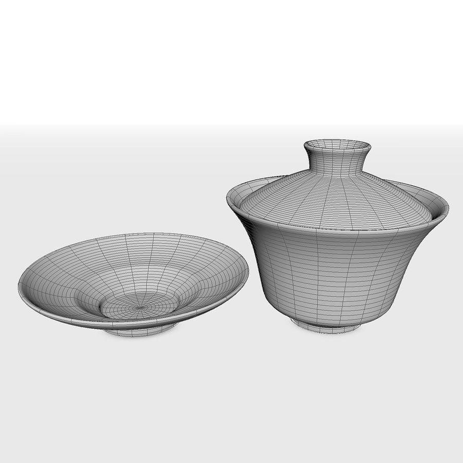 中国の磁器のワンシュウティーカップセット-Gongfu Gaiwan royalty-free 3d model - Preview no. 9