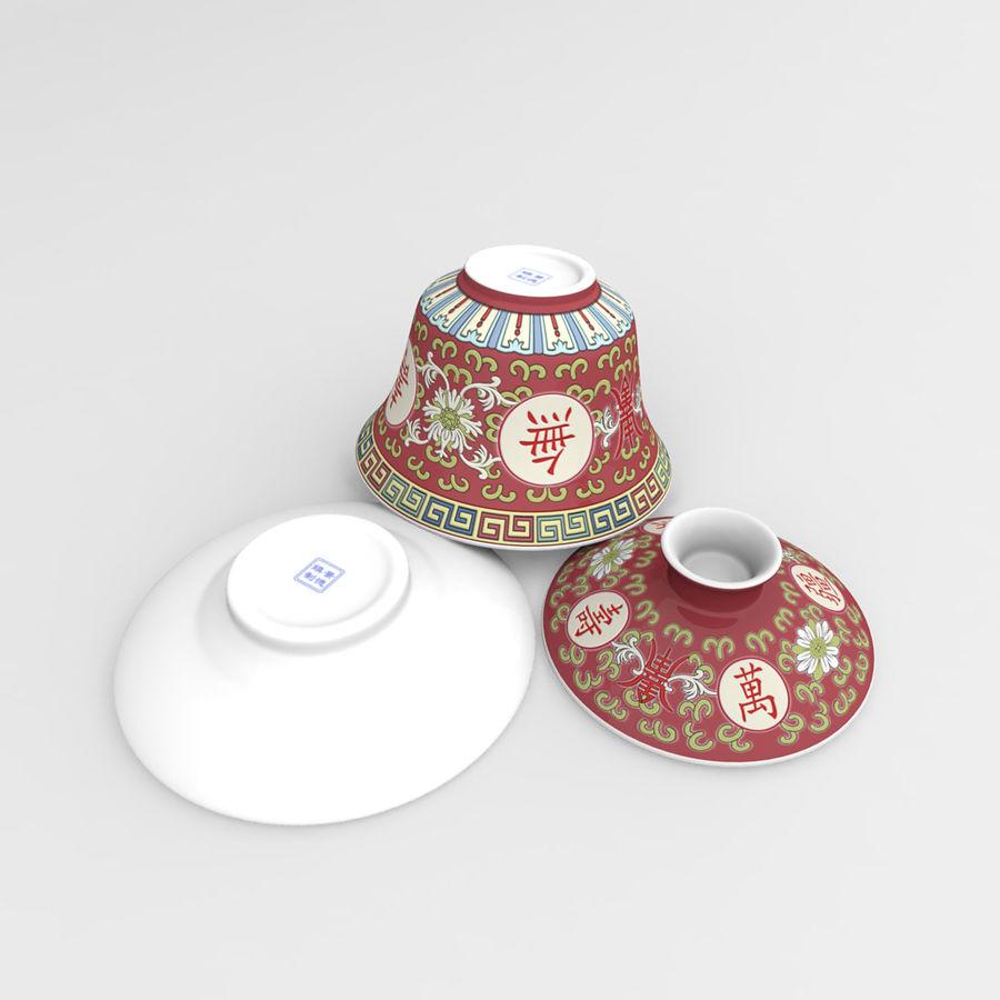 中国の磁器のワンシュウティーカップセット-Gongfu Gaiwan royalty-free 3d model - Preview no. 6