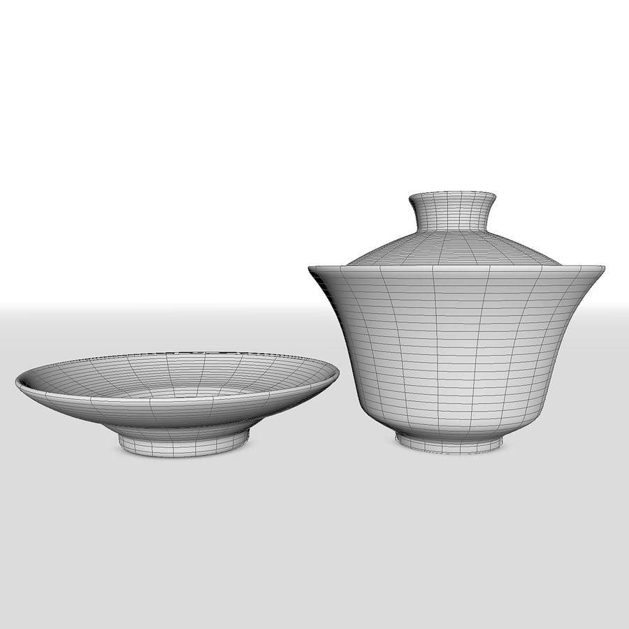 中国の磁器のワンシュウティーカップセット-Gongfu Gaiwan royalty-free 3d model - Preview no. 8