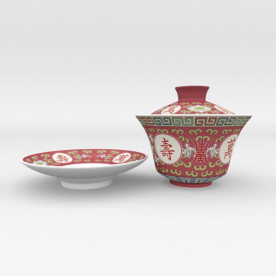 中国の磁器のワンシュウティーカップセット-Gongfu Gaiwan royalty-free 3d model - Preview no. 4