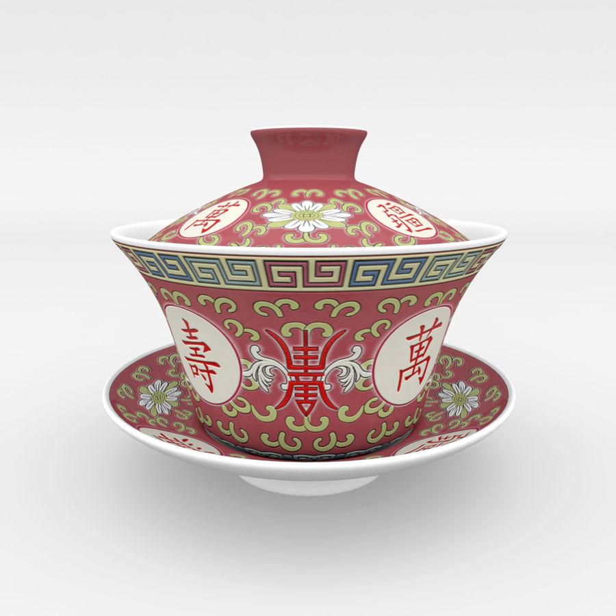 中国の磁器のワンシュウティーカップセット-Gongfu Gaiwan royalty-free 3d model - Preview no. 1