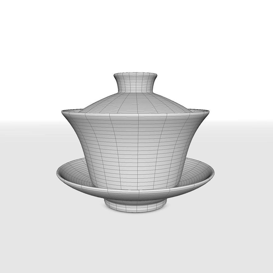 中国の磁器のワンシュウティーカップセット-Gongfu Gaiwan royalty-free 3d model - Preview no. 7