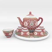 中国の磁器のお茶セット 3d model