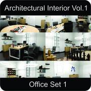 办公室建筑室内卷。 1个 3d model