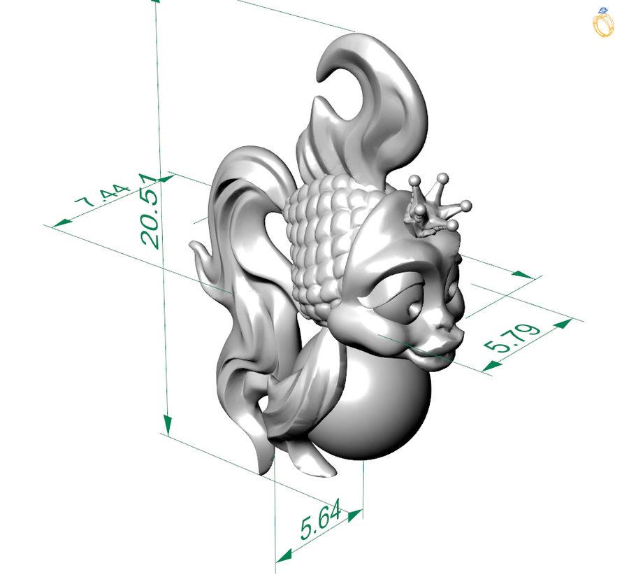 кулон золотая рыбка royalty-free 3d model - Preview no. 5