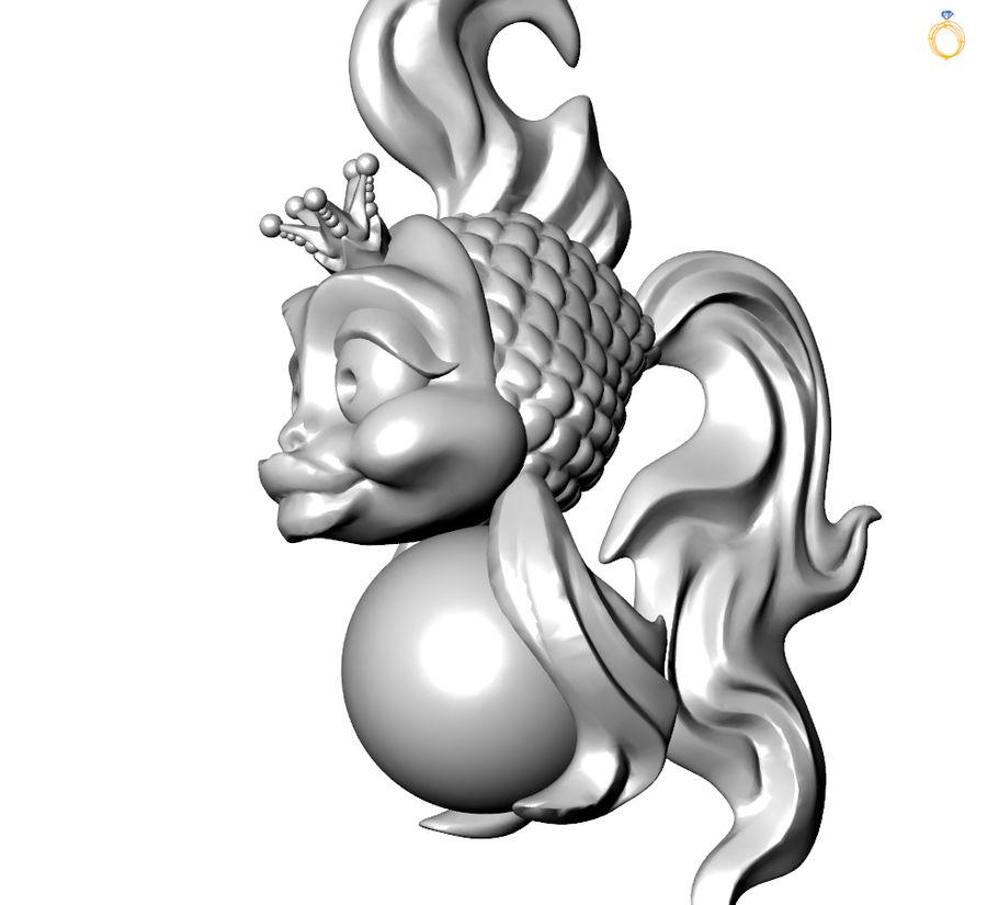 кулон золотая рыбка royalty-free 3d model - Preview no. 4