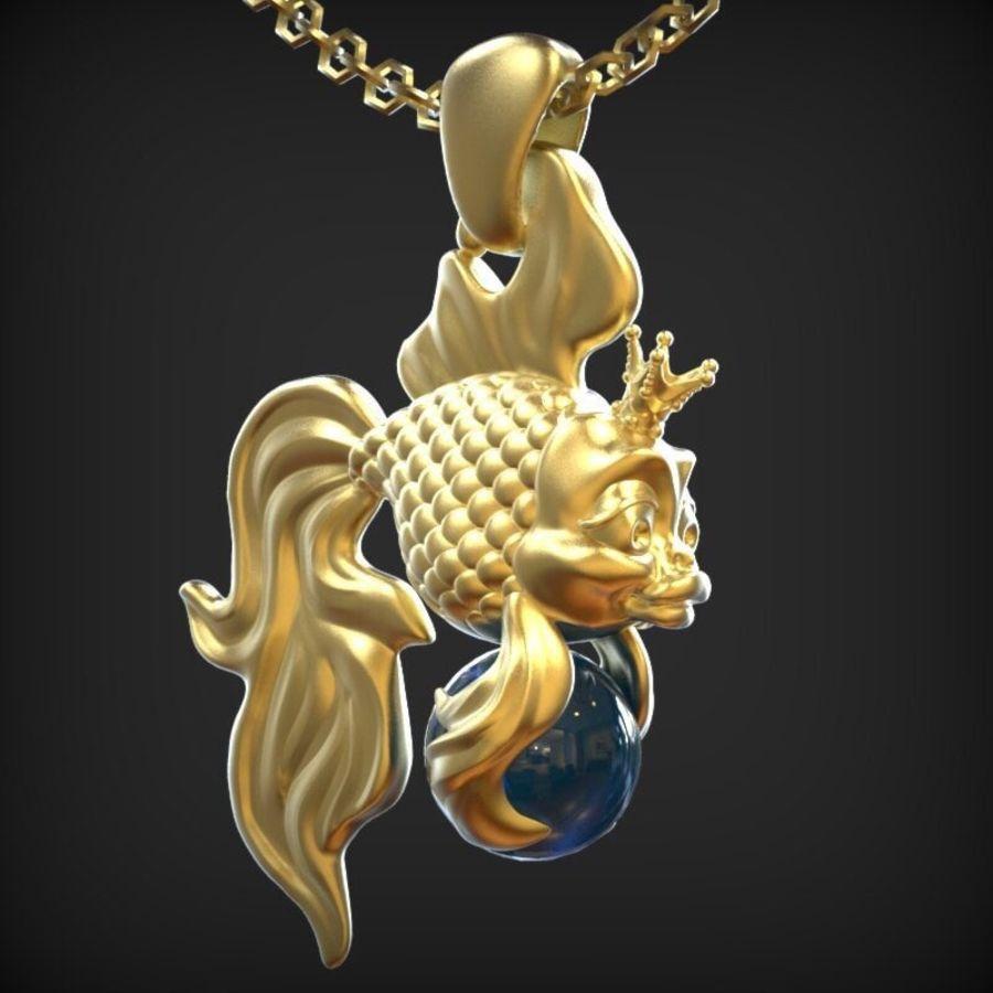 кулон золотая рыбка royalty-free 3d model - Preview no. 1