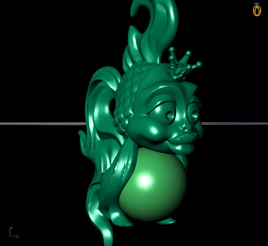 кулон золотая рыбка royalty-free 3d model - Preview no. 3