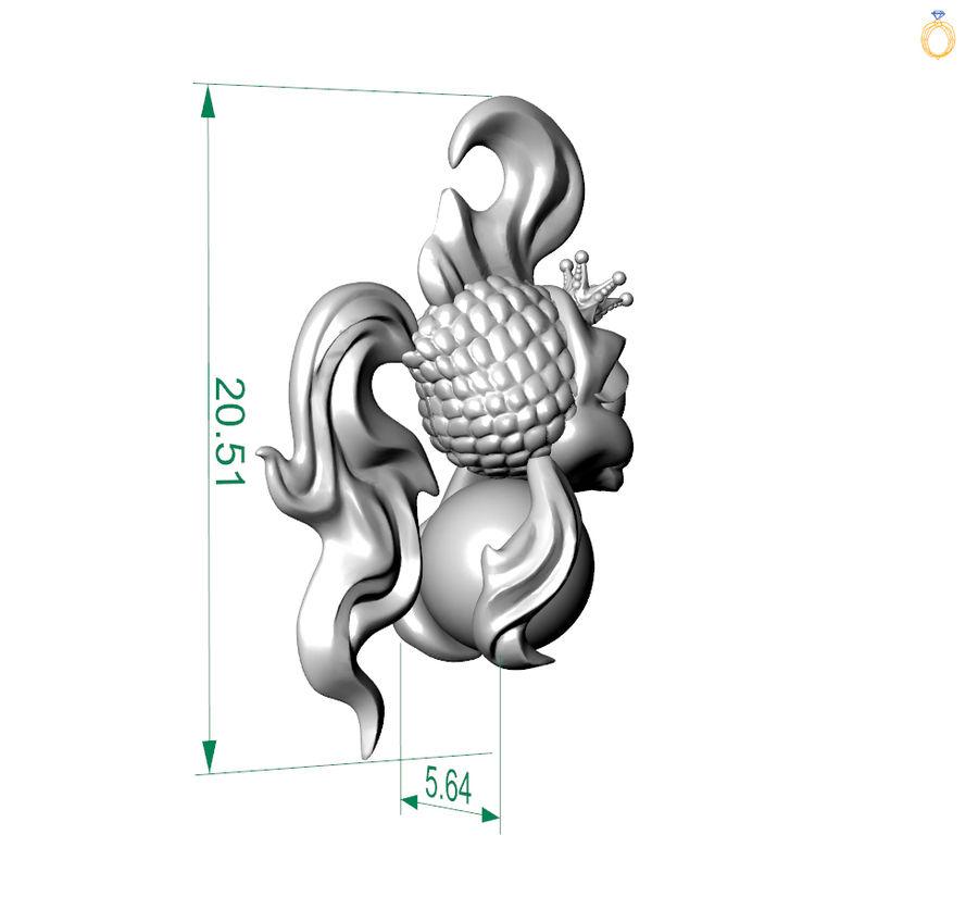 кулон золотая рыбка royalty-free 3d model - Preview no. 6