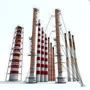 Bloco da chaminé da planta química 3d model