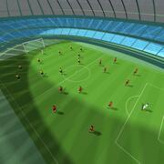 stadion och fotbollsspelare 3d model