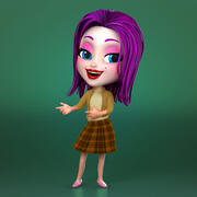 femme de bande dessinée 3d model