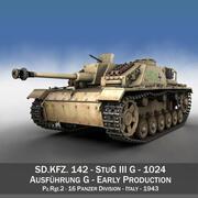 StuG III - Ausf.G - 1024 - Раннее производство 3d model