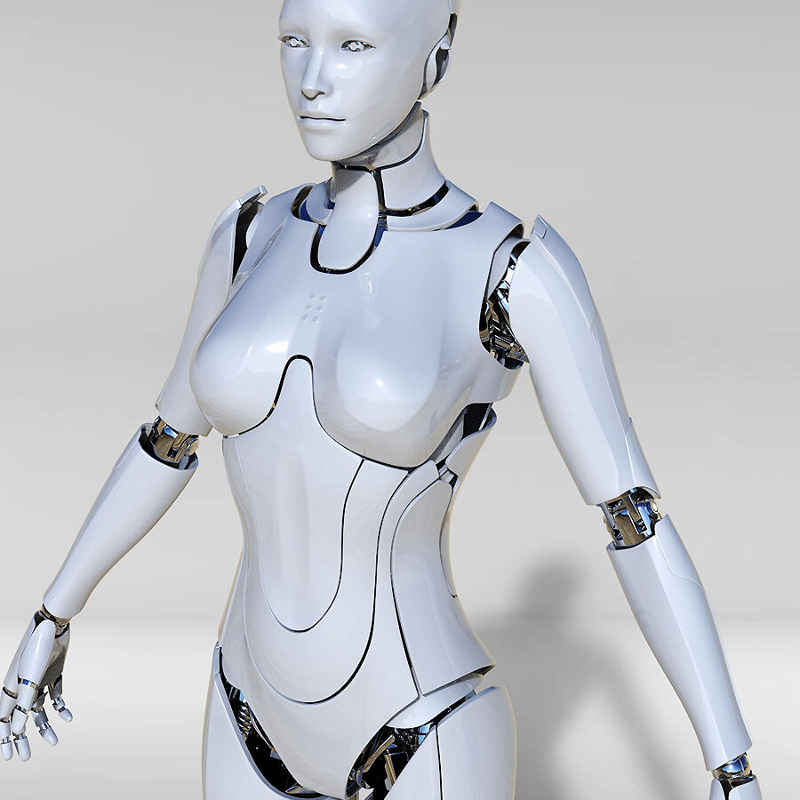 Female Cyborg Robot royalty-free 3d model - Preview no. 2