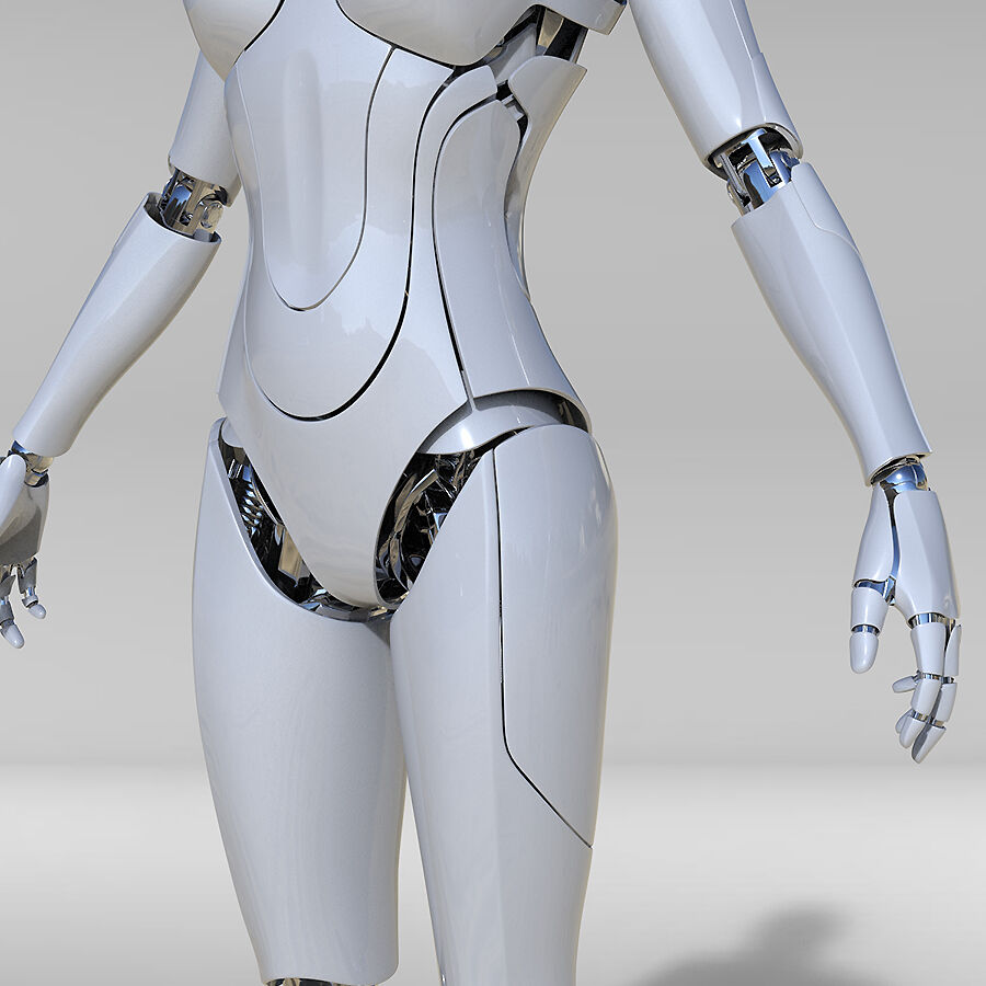 Female Cyborg Robot royalty-free 3d model - Preview no. 5