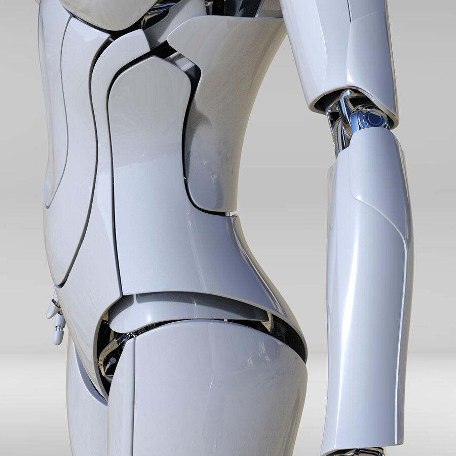 Female Cyborg Robot royalty-free 3d model - Preview no. 7