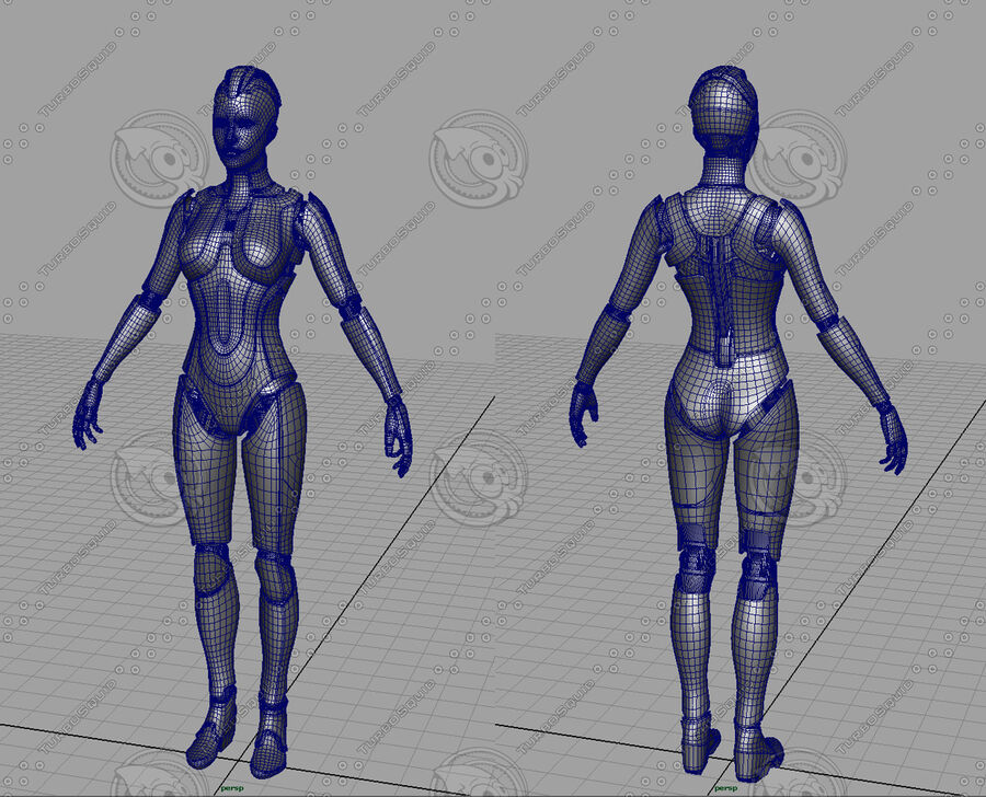 Female Cyborg Robot royalty-free 3d model - Preview no. 21