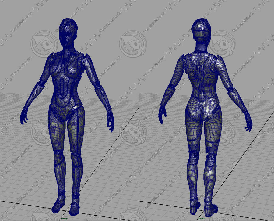 Female Cyborg Robot royalty-free 3d model - Preview no. 22