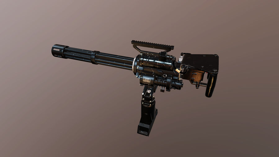 Minigun royalty-free 3d model - Preview no. 5