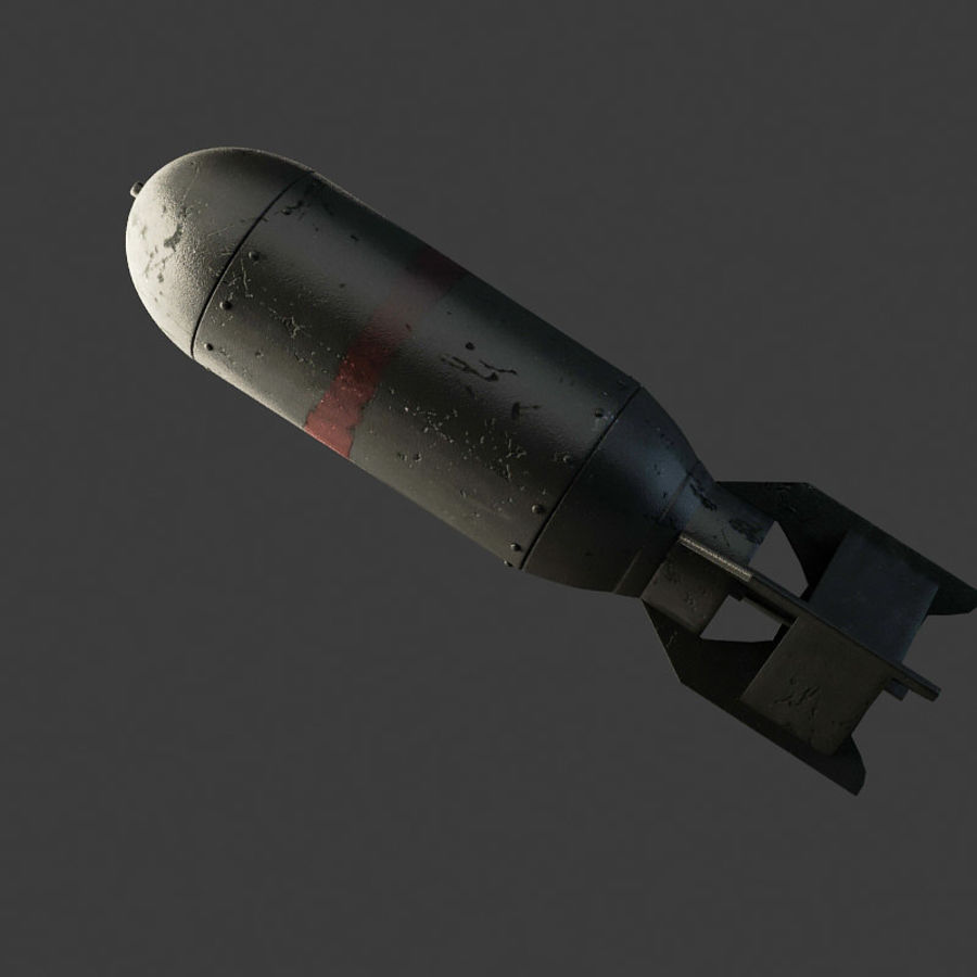 Bomb WWII royalty-free 3d model - Preview no. 3
