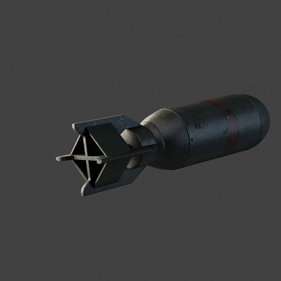 Bomb WWII royalty-free 3d model - Preview no. 4