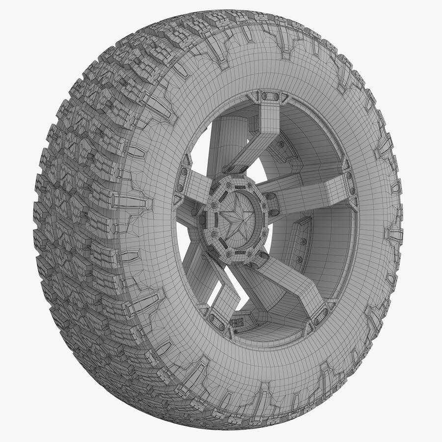 Off Road Wheel NITTO & ROCKSTAR royalty-free 3d model - Preview no. 7