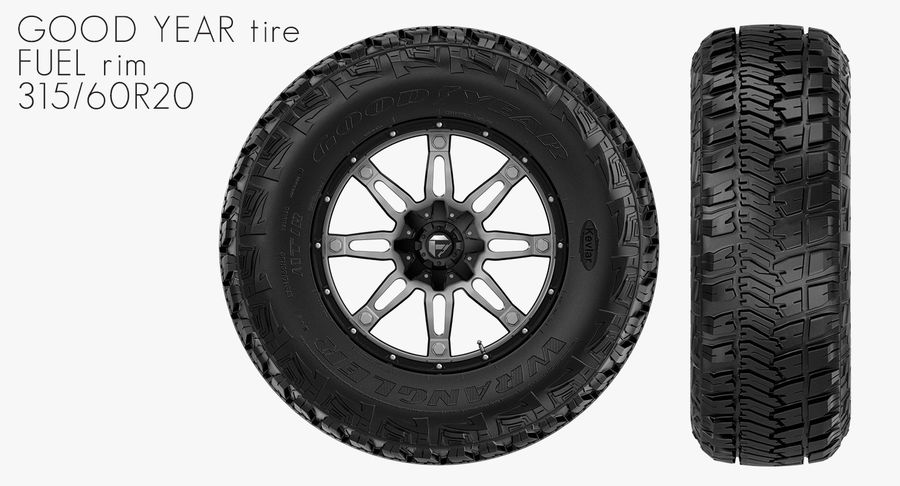 Off Road Wheel GOOD YEAR & FUEL royalty-free 3d model - Preview no. 2