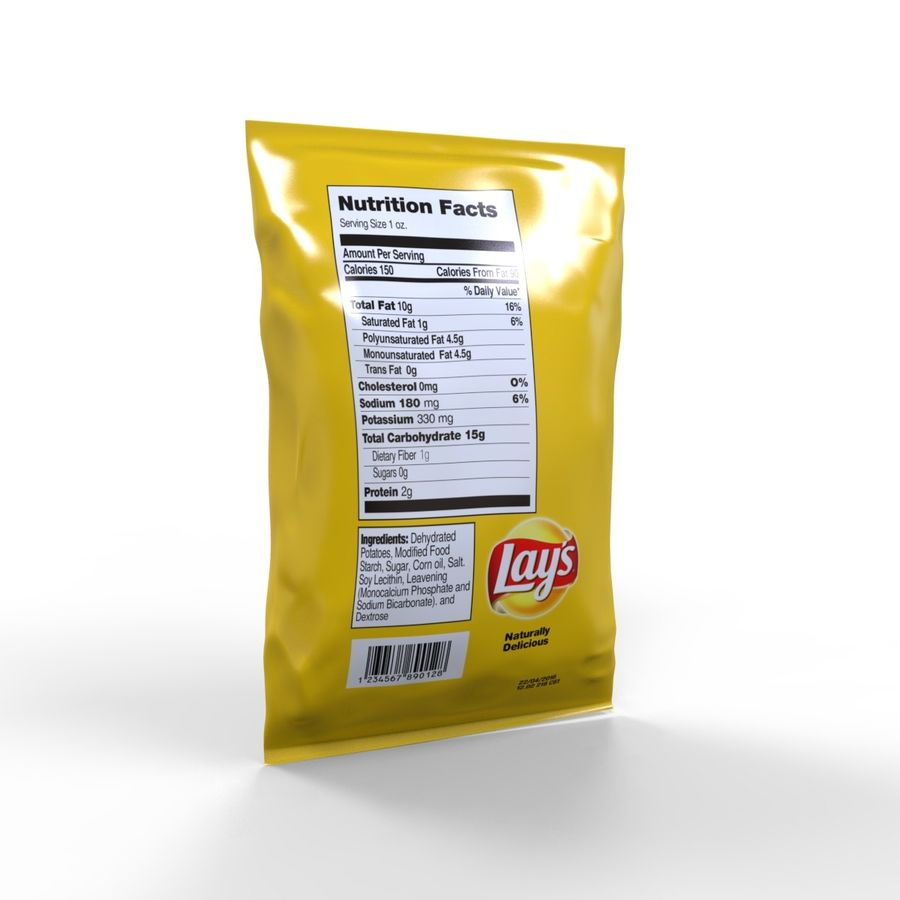 Chip Bag royalty-free 3d model - Preview no. 5