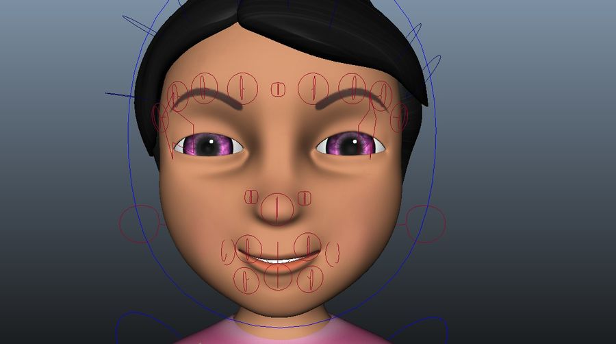 cute cartoon baby girl royalty-free 3d model - Preview no. 6