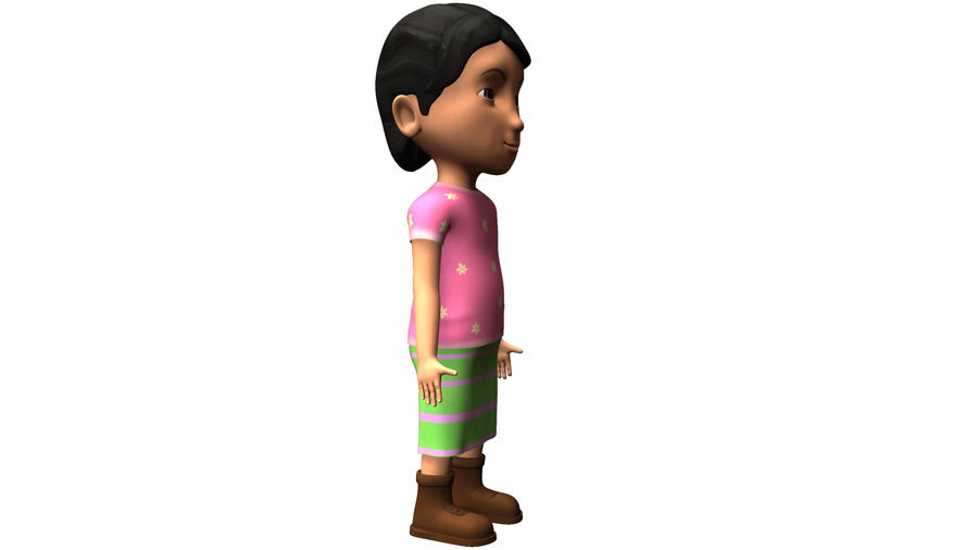 cute cartoon baby girl royalty-free 3d model - Preview no. 3