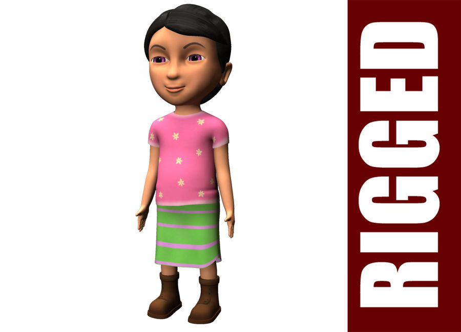 cute cartoon baby girl royalty-free 3d model - Preview no. 1