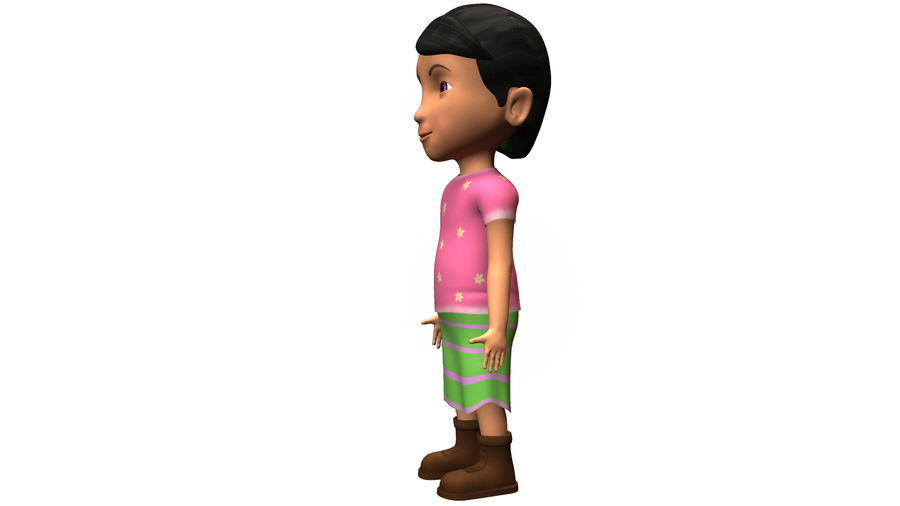 cute cartoon baby girl royalty-free 3d model - Preview no. 7