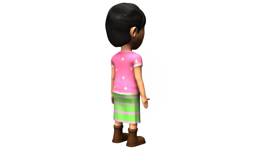 cute cartoon baby girl royalty-free 3d model - Preview no. 4