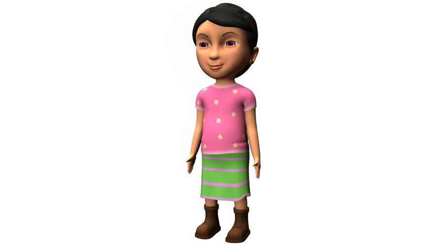 cute cartoon baby girl royalty-free 3d model - Preview no. 2