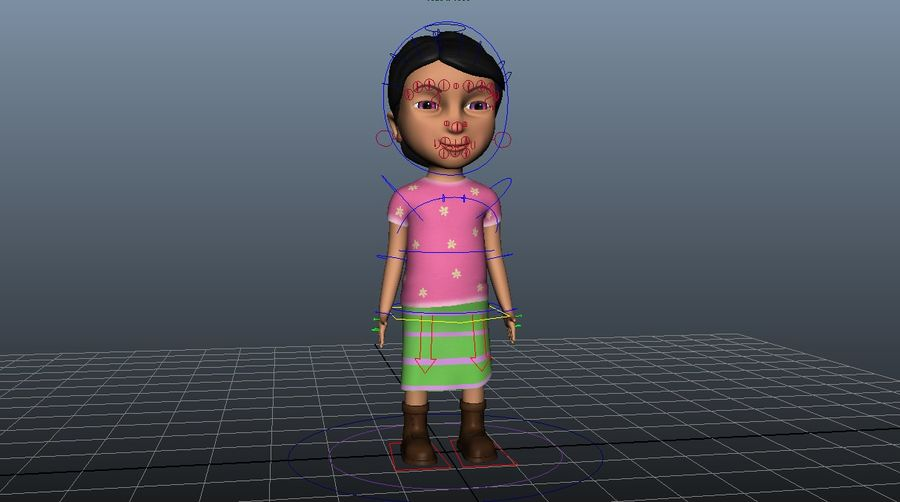 cute cartoon baby girl royalty-free 3d model - Preview no. 5