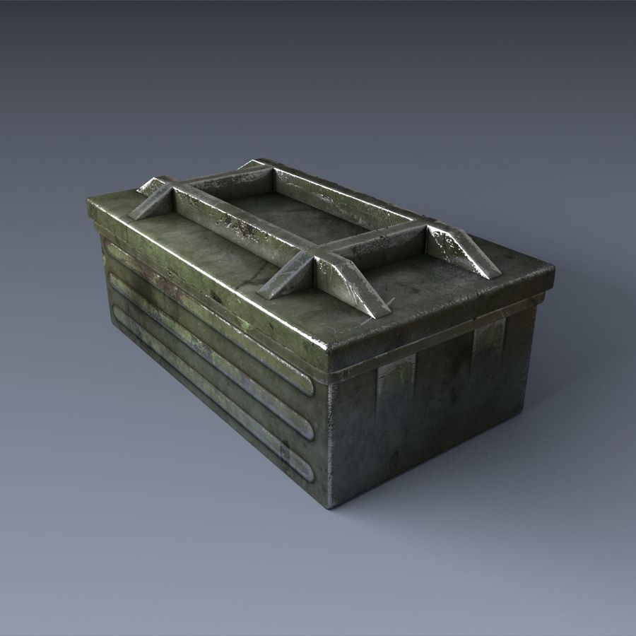 軍用弾薬箱 royalty-free 3d model - Preview no. 4