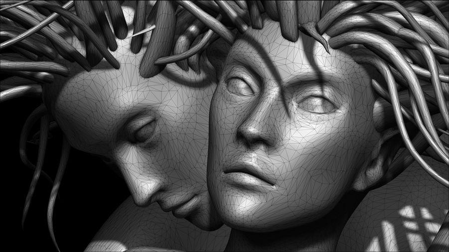 Статуя демона-ангела royalty-free 3d model - Preview no. 11
