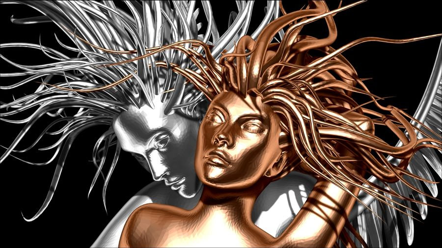 Статуя демона-ангела royalty-free 3d model - Preview no. 2