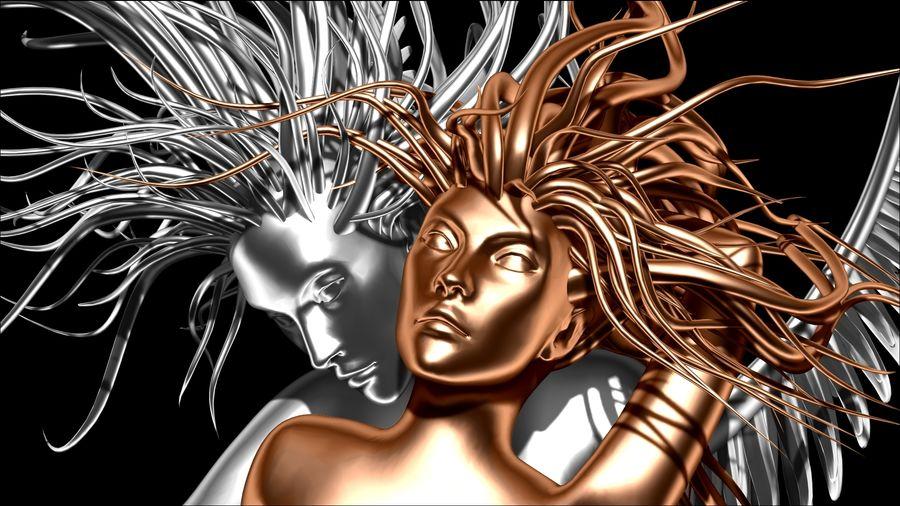 Статуя демона-ангела royalty-free 3d model - Preview no. 3