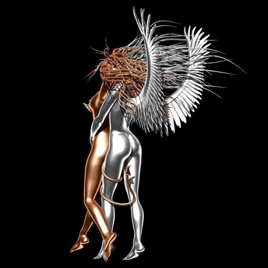 Statue démon ange royalty-free 3d model - Preview no. 5