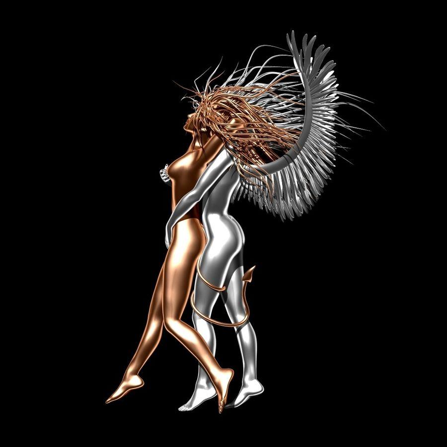 Статуя демона-ангела royalty-free 3d model - Preview no. 4